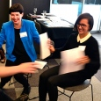 A FutureDeck workshop group during Melbourne Knowledge Week 2015, bodystorming an idea created with the game.